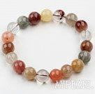 10mm Round Multi Color Qutilated Quartz Beaded Elastic Bangle Bracelet