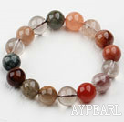 Wholesale 12mm Round Multi Color Qutilated Quartz Beaded Elastic Bangle Bracelet