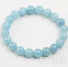 8mm A Grade Round Aquamarine Beaded Elastic Bangle Bracelet