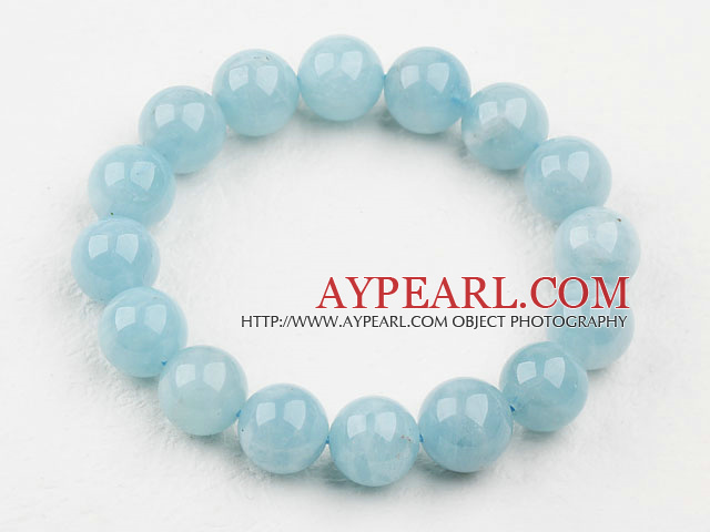 10mm en Grade Round Aquamarine Beaded Elastic Bangle Bracelet