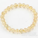 8mm Round Natural Citrine Beaded Elastic Bangle Bracelet