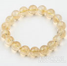 Wholesale 10mm Round Natural Citrine Beaded Elastic Bangle Bracelet