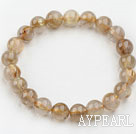 9mm Round Golden Rutilated Quartz Beaded Elastic Bangle Bracelet