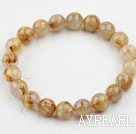 10mm Round Golden Rutilated Quartz Beaded Elastic Bangle Bracelet