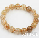 Wholesale 12mm Round Golden Rutilated Quartz Beaded Elastic Bangle Bracelet