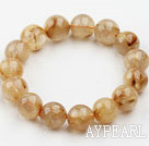 Wholesale 14mm Round Golden Rutilated Quartz Beaded Elastic Bangle Bracelet