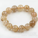 Wholesale 15mm Round Golden Rutilated Quartz Beaded Elastic Bangle Bracelet