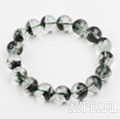 10mm Round A Grade Green Phantom Beaded Elastic Bangle Bracelet