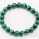 9mm Round A Grade Malachite Beaded Elastic Bangle Bracelet
