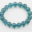 14mm A Grade Blue Fluorite Beaded Elastic Bangle Bracelet