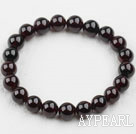 9-9.5mm A Grade Round Garnet Beaded Elastic Bangle Bracelet