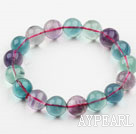 12mm A Grade Multi Color Fluorite Beaded Elastic Bangle Bracelet