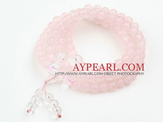Rose Quartz Prayer Bracelet (  Rosary Bracelet Total 108 Beads )