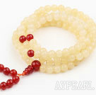 Light Yellow Jade and Carnelian Prayer Bracelet ( Rosary Bracelet Total 108 Beads )