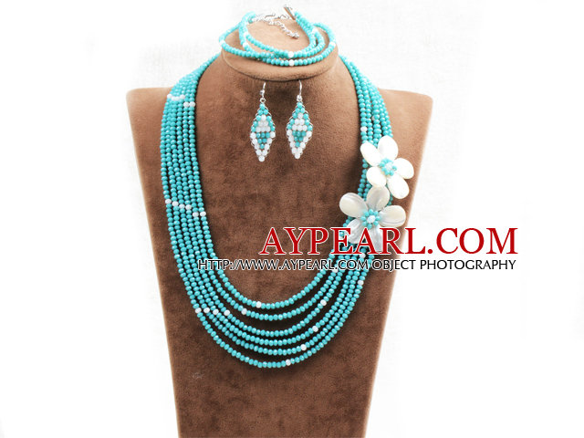 Beautiful 6 Layers Lake Blue Crystal Beads Costume African Wedding Jewelry Set (Necklace, Bracelet & Earrings