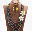 Wholesale Beautiful 6 Layers Multi Color Crystal Beads Costume African Wedding Jewelry Set (Necklace, Bracelet & Earrings