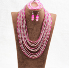 Fantastic Statement 10 Layers Rose Red & Pink Crystal African Wedding Jewelry Set (Necklace, Bracelet & Earrings)
