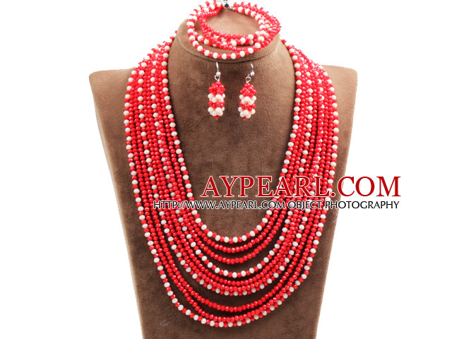 Fantastic Statement 10 Layers Red & White Crystal African Wedding Jewelry Set (Necklace, Bracelet & Earrings)