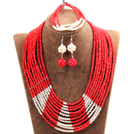 Beautiful Shining 10-Row Red Crystal Beads African Wedding Jewelry Set (Necklace, Bracelet & Earrings)