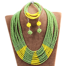 Beautiful Shining 10-Row Green & Yellow Crystal Beads African Wedding Jewelry Set (Necklace, Bracelet & Earrings)