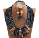 Beautiful Shining 10-Row Black & Orange Crystal Beads African Wedding Jewelry Set (Necklace, Bracelet & Earrings)