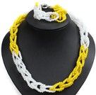 Unique Design Fashion Yellow & White Jade-like Crystal Beads Jewelry Set (Necklace & Bracelet with Moonlight Clasp)