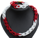 Unique Design Fashion Red & White Jade-like Crystal Beads Jewelry Set (Necklace & Bracelet with Golden Moonlight Clasp)