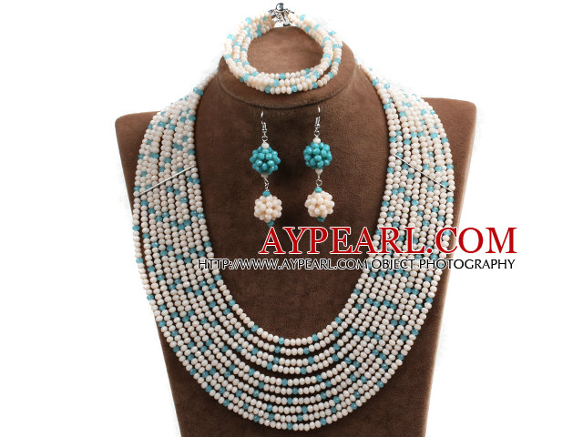 Fabulous 10-Row White & Blue Crystal African Wedding Jewelry Set (Necklace $ Bracelet & Earrings)