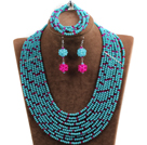 Fabulous 10-Row Blue & Rose Red Crystal African Wedding Jewelry Set (Necklace $ Bracelet & Earrings)