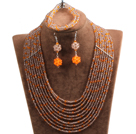Fabulous 10-Row Brown & Orange Crystal African Wedding Jewelry Set (Necklace $ Bracelet & Earrings)