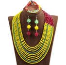 Hipanema 10-Row Yellow & Green & Red Crystal African Wedding Jewelry Set (Necklace $ Bracelet & Earrings)
