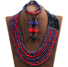 Hipanema 10-Row Black & Red & Dark Blue Crystal African Wedding Jewelry Set (Necklace $ Bracelet & Earrings)