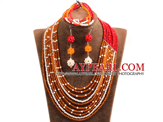 Hipanema 10-Row Orange & Red & White Crystal African Wedding Jewelry Set (Necklace $ Bracelet & Earrings)