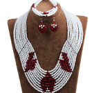 Fantastic Pretty Multi Layer White & Red Heart Pattern Crystal Beads Jewelry Set (Necklace & Bracelet & Heart Earrings)