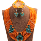 Fantastic Pretty Multi Layer Orange & Green Heart Pattern Crystal Beads Jewelry Set (Necklace & Bracelet & Heart Earrings)