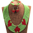 Fantastic Pretty Multi Layer Green & Red Heart Pattern Crystal Beads Jewelry Set (Necklace & Bracelet & Heart Earrings)