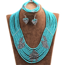 Fantastic Pretty Multi Layer Green & Silver Heart Pattern Crystal Beads Jewelry Set (Necklace & Bracelet & Heart Earrings)