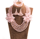 Sparkly Multi Layer Pink Crystal Beads African Wedding Jewelry Set With Statement Crystal Flower (Necklace, Bracelet & Earrings)