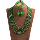 Classic Design Multi Layer Green & Brown Crystal Beads African Wedding Jewelry Set (Necklace, Bracelet & Earrings)