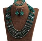 Classic Design Multi Layer Dark Green & Brown Crystal Beads African Wedding Jewelry Set (Necklace, Bracelet & Earrings)