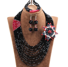 Gorgeous Multi Layer Black & Red Crystal Beads African Wedding Jewelry Set With Statement Crystal Flower(Necklace, Bracelet & Earrings)