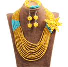 Gorgeous Multi Layer Yellow & Blue Crystal Beads African Wedding Jewelry Set With Statement Crystal Flower(Necklace, Bracelet & Earrings)