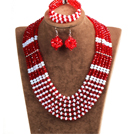 Classic Design Multi Layer Red & White Crystal Beads African Wedding Jewelry Set (Necklace, Bracelet & Earrings)