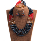 Fashion Multi Layer Black & Red & Brown Crystal Beads African Wedding Jewelry Set (Necklace, Bracelet & Earrings)