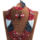 Fashion Multi Layer Red & Black & White Crystal Beads African Wedding Jewelry Set (Necklace, Bracelet & Earrings)