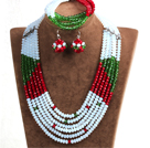Fashion Multi Layer White & Red & Green Crystal Beads African Wedding Jewelry Set (Necklace, Bracelet & Earrings)