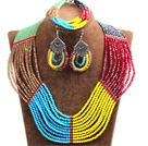 Amazing Colorful Multi Layer Crystal Beads African Wedding / Party Jewelry Set (Necklace, Bracelet & Earrings)