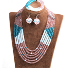 Fashion Multi Layer Pink & Blue & White Crystal Beads African Wedding Jewelry Set (Necklace, Bracelet & Earrings)