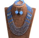 Classic Design Multi Layer Blue & Brown Crystal Beads African Wedding Jewelry Set (Necklace, Bracelet & Earrings)