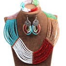 Beautiful Colorful Multi Layer Crystal Beads African Wedding / Party Jewelry Set (Necklace, Bracelet & Earrings)